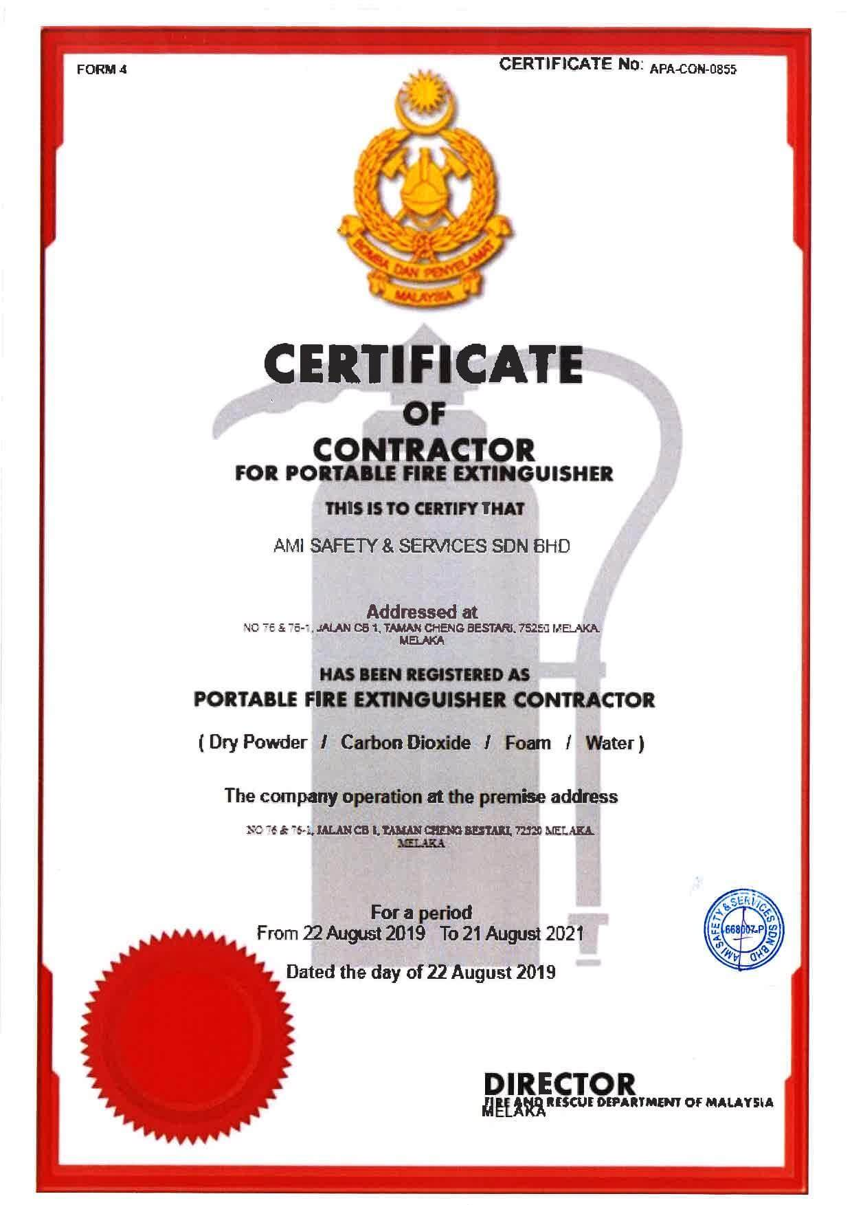 Certificate of Contractor for Portable Fire Extinguisher,fire,fire extinguisher,ami ventures,ami safety,safety,melaka fire extinguisher