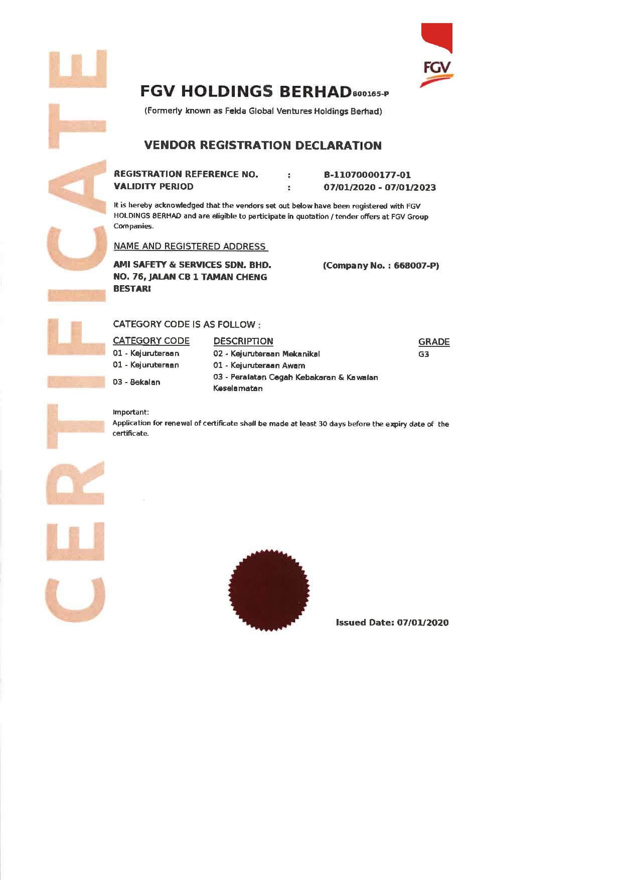 Vendor Registration Declaration - FGV,fire,fire extinguisher,ami ventures,ami safety,safety,melaka fire extinguisher